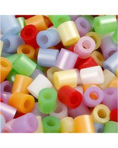 Putkihelmet, koko 5x5 mm, aukon koko 2,5 mm, medium, helmiäisvärit, 5000 laj/ 1 pkk