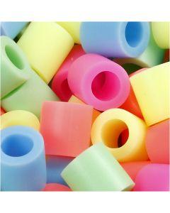 Putkihelmet, koko 10x10 mm, aukon koko 5,5 mm, JUMBO, pastellivärit, 1000 laj/ 1 pkk