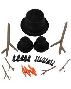 Hatut, nenät ja oksat, koko 2,3-7 cm, 3 set/ 1 pkk