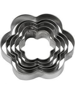 Metallimuotit, kukka, koko 8 cm, 5 kpl/ 1 pkk