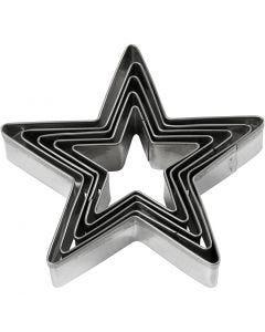 Metallimuotit, tähti, koko 8 cm, 5 kpl/ 1 pkk