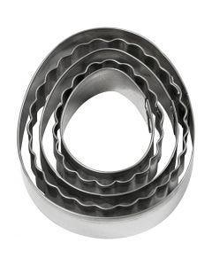 Metallimuotit, muna, koko 8 cm, 5 kpl/ 1 pkk