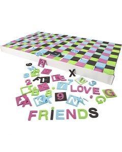 Softis kirjaimet ja numerot, koko 30x30 mm, musta, vihreä, pinkki, turkoosi, 1800 laj/ 1 pkk