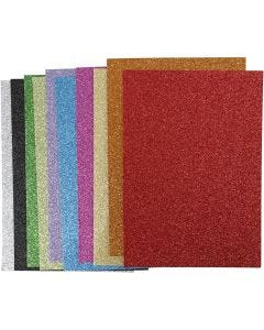 Softis, A4, 210x297 mm, paksuus 2 mm, kimalle, värilajitelma, 10 laj/ 1 pkk