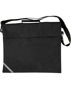 Koululaukku, syvyys 6 cm, koko 36x31 cm, musta, 1 kpl