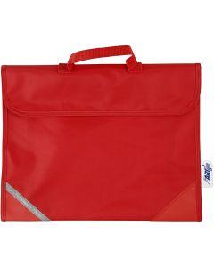Koululaukku, syvyys 9 cm, koko 36x29 cm, punainen, 1 kpl