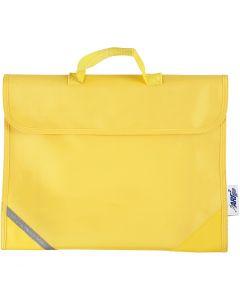 Koululaukku, syvyys 9 cm, koko 36x29 cm, keltainen, 1 kpl