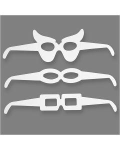 Kartonkisilmälasit, Kork. 4,5-10 cm, Pit. 32 cm, 230 g, valkoinen, 16 kpl/ 1 pkk