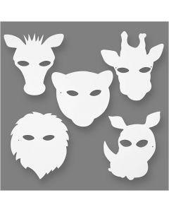 Eläinnaamiot, Kork. 22,5-25 cm, Lev: 20,5-22,5 cm, 230 g, valkoinen, 16 kpl/ 1 pkk