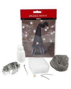 Luova minipakkaus, Joulutonttu, Kork. 13 cm, meleerattu harmaa, 1 set