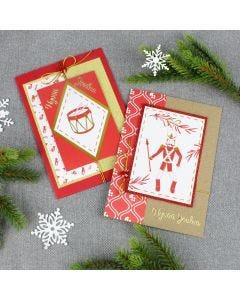 Joulukortteja kuviopapereista