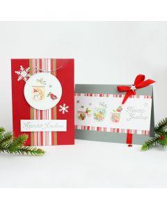 Joulukortteja tarroista