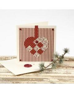 Joulukortti punotulla sydämellä ja sinetillä