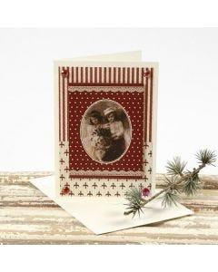 Vanhan ajan tunnelmaa henkivä joulukortti