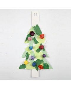 Joulukuusi kartongista ja silkkipaperista