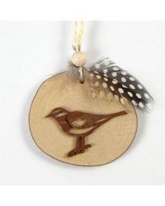 Lintu ja höyhen puukiekossa