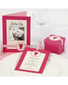 Pinkki/ rosa kutsukortti ja pöytäkoristeet