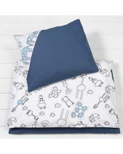 Petivaatteet lapsen sänkyyn kuviollisesta kankaasta
