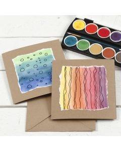 Vesiväreilllä koristeltu kortti