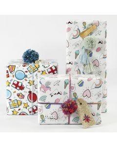 Lahjapaketointia lahjapaperilla, langalla ja koristeilla
