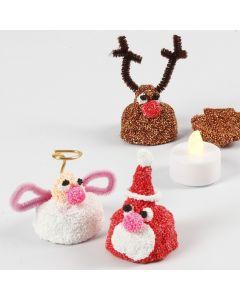 Pieni Foam Clay-joulufiguuri, jonka sisällä on LED-tuikku