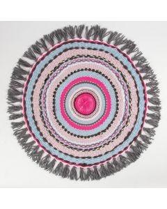 Pyöreällä punontakehyksellä tehty pieni matto