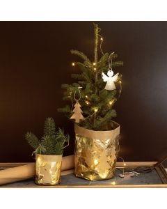 Joulukuvioilla koristeltu kukkaruukku nahkapaperista