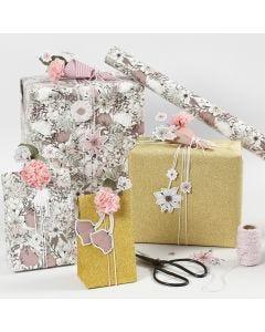 Kukallista lahjapaketointia kartonkikukilla ja silkkipaperikukilla