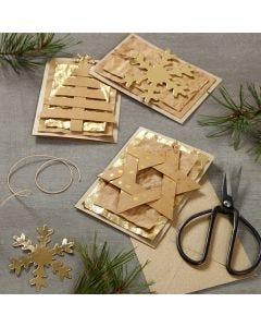 Joulukortit ripustettavalla nahkapaperikoristeella