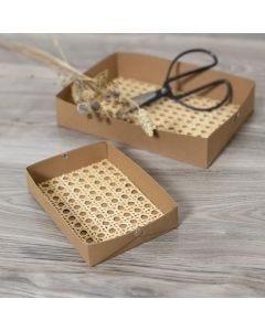Rottingilla koristeltuja nahpaperitarjotin