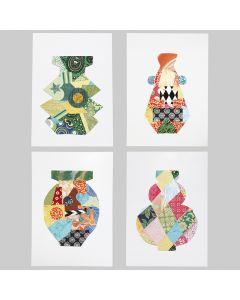 Käsintehdyllä paperilla koristellut symmetriset kuviot