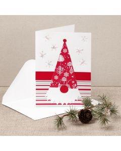 Joulukortti, jossa kuviopaperista tehty tonttu