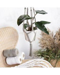 A macramé plant hanger