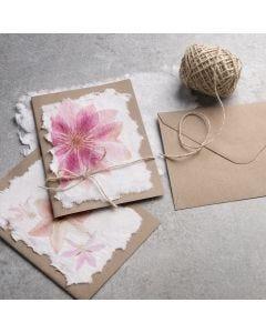 Lautasliinalla koristeltu käsintehty paperi