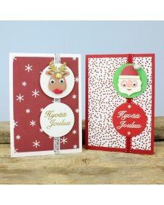 Joulukortteja 3D-tarroilla