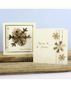 Kortteja nahkapaperilumihiutaleista