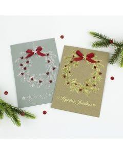 Minihelmikranssit joulukorteissa