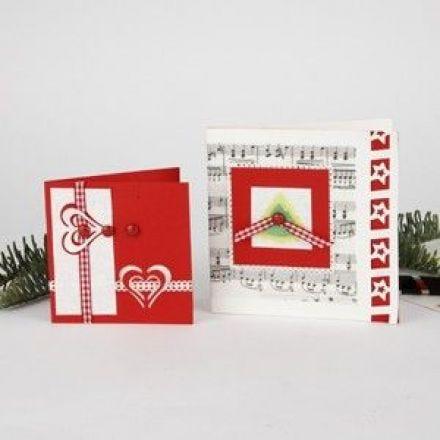 Joulukortit kuviolävistäjällä tehdyillä koristeilla
