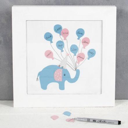 Elefanttitaulu vieraiden nimillä