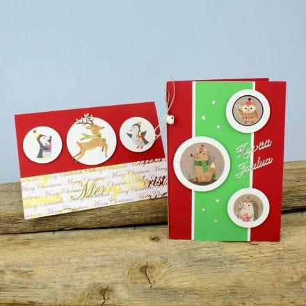 Söpöt joulukortit tarroista