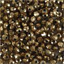 Fasettihiotut lasihelmet, koko 3x4 mm, aukon koko 0,8 mm, metallic-pronssi, 100 kpl/ 1 pkk