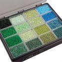 Rocaille-siemenhelmet, halk. 3+4 mm, koko 6/0+8/0 , aukon koko 0,6-1,0+0,9-1,2 mm, värilajitelma, 16x100 g/ 1 pkk