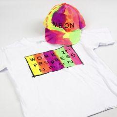 Lippis ja T-paita maalattu Neon Textil Color väreillä