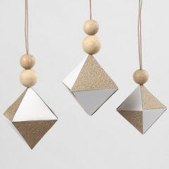 Kuparin sävyisellä paperilla koristeltu kartonki timantti