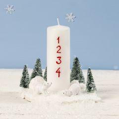Joulukoriste kynttilästä, minijääkarhuista ja joulukuusista.