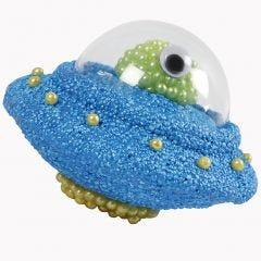 UFO styroxista, Foam Clay:sta, Pearl Clay:sta ja puolikkaasta koristepallosta