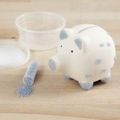 Rocaille-siemenhelmillä koristeltu säästöpossu