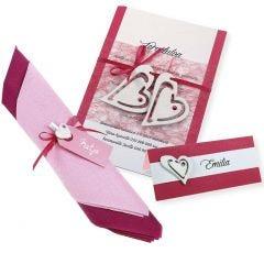Pinkki ja valkoinen kutsu, paikkakortti ja serviettikoriste
