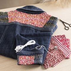 Japanilaista kirjontaa farkkutakkiin