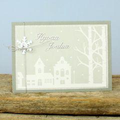 Lumimaisema joulukortissa